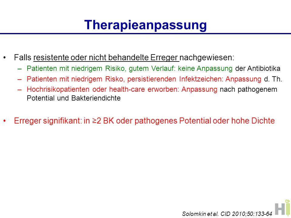 Therapieanpassung Falls resistente oder nicht behandelte Erreger nachgewiesen: