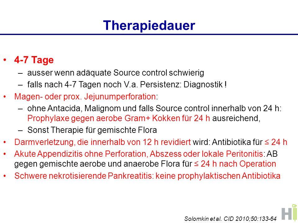 Therapiedauer 4-7 Tage ausser wenn adäquate Source control schwierig