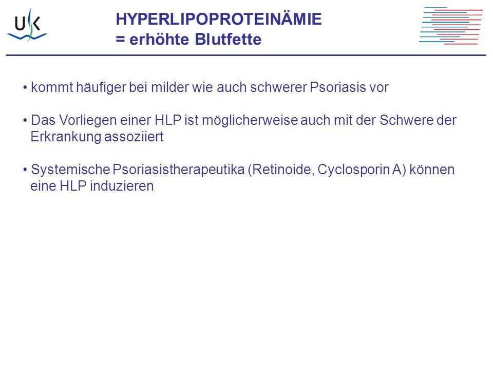 HYPERLIPOPROTEINÄMIE = erhöhte Blutfette