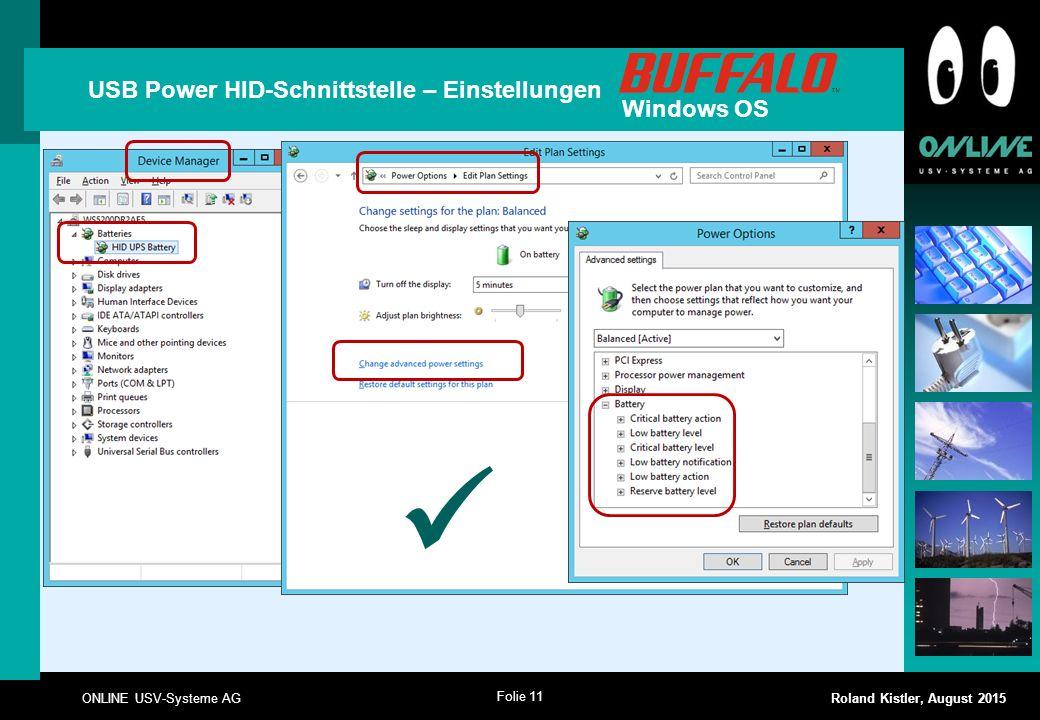 USB Power HID-Schnittstelle – Einstellungen