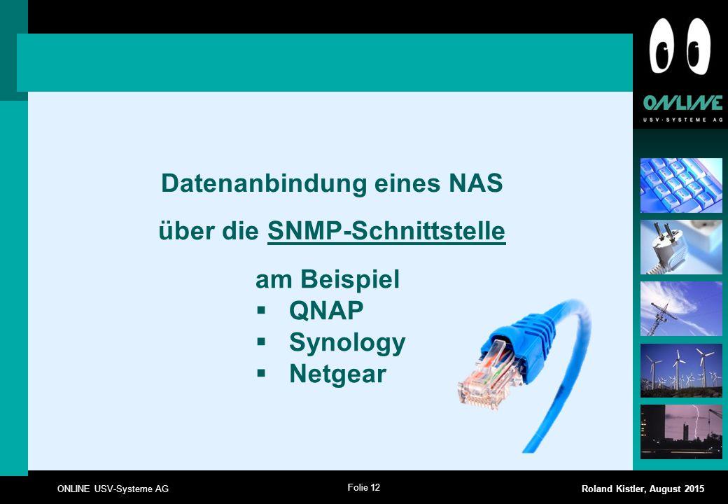 Datenanbindung eines NAS über die SNMP-Schnittstelle