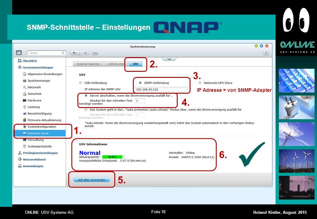  2. 3. 4. 1. 6. 5. SNMP-Schnittstelle – Einstellungen