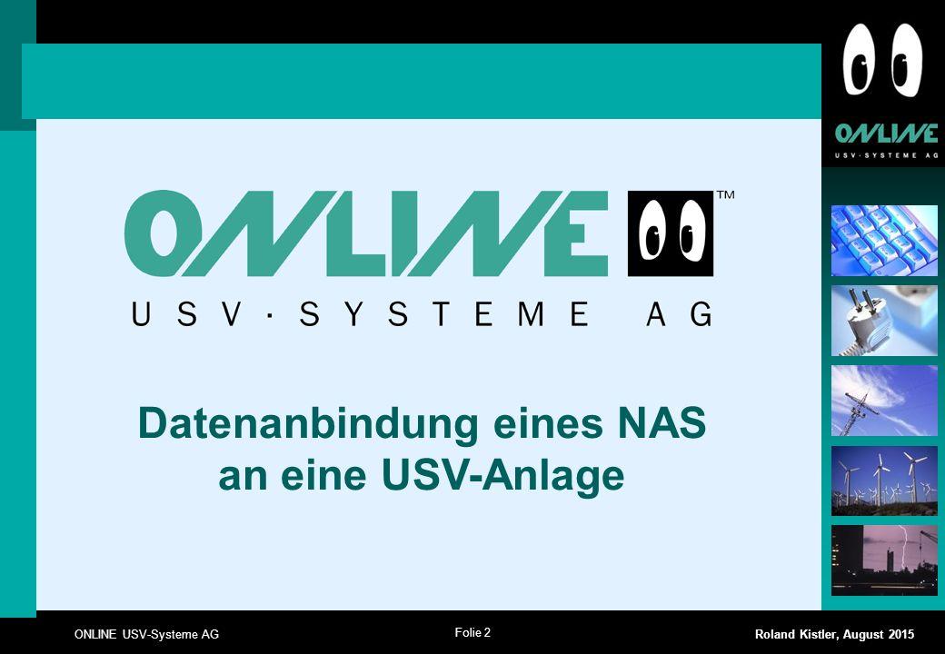 Datenanbindung eines NAS an eine USV-Anlage