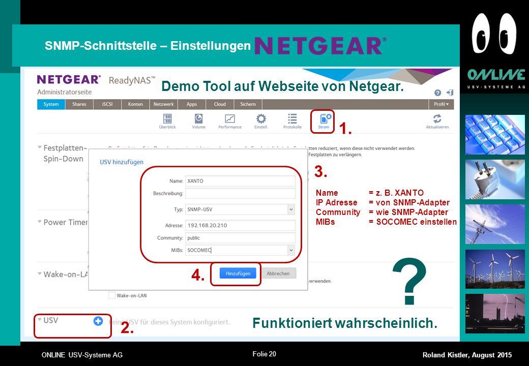 1. 3. 4. 2. Demo Tool auf Webseite von Netgear.