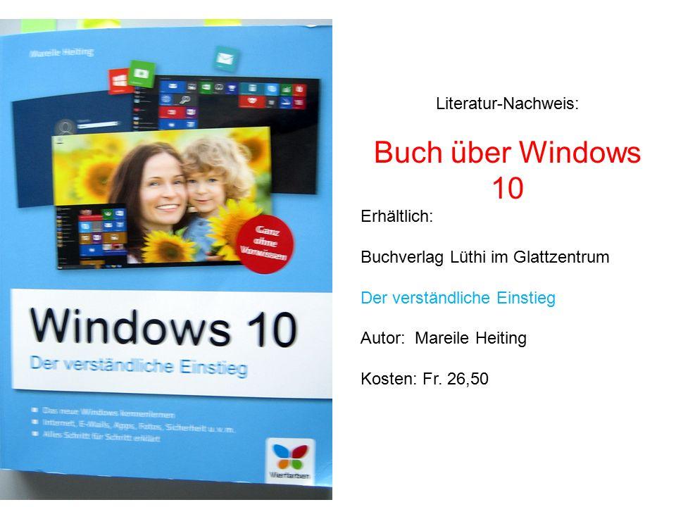 Buch über Windows 10 Literatur-Nachweis: Erhältlich: