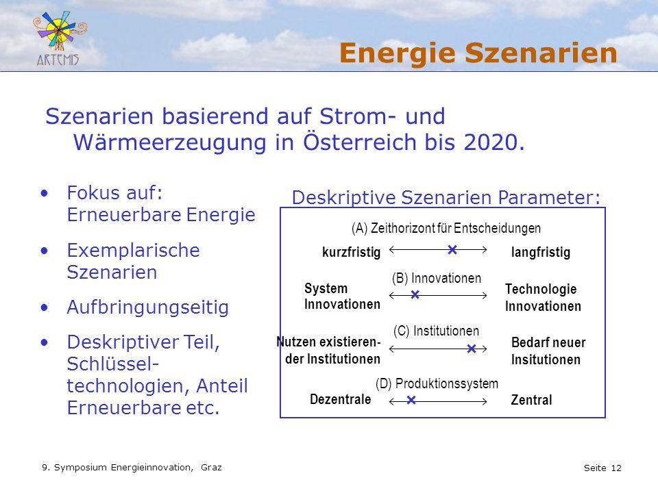 Energie Szenarien Szenarien basierend auf Strom- und Wärmeerzeugung in Österreich bis 2020. Fokus auf: Erneuerbare Energie.