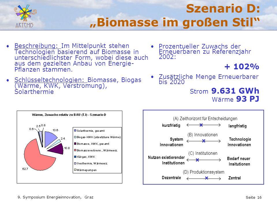 """Szenario D: """"Biomasse im großen Stil"""