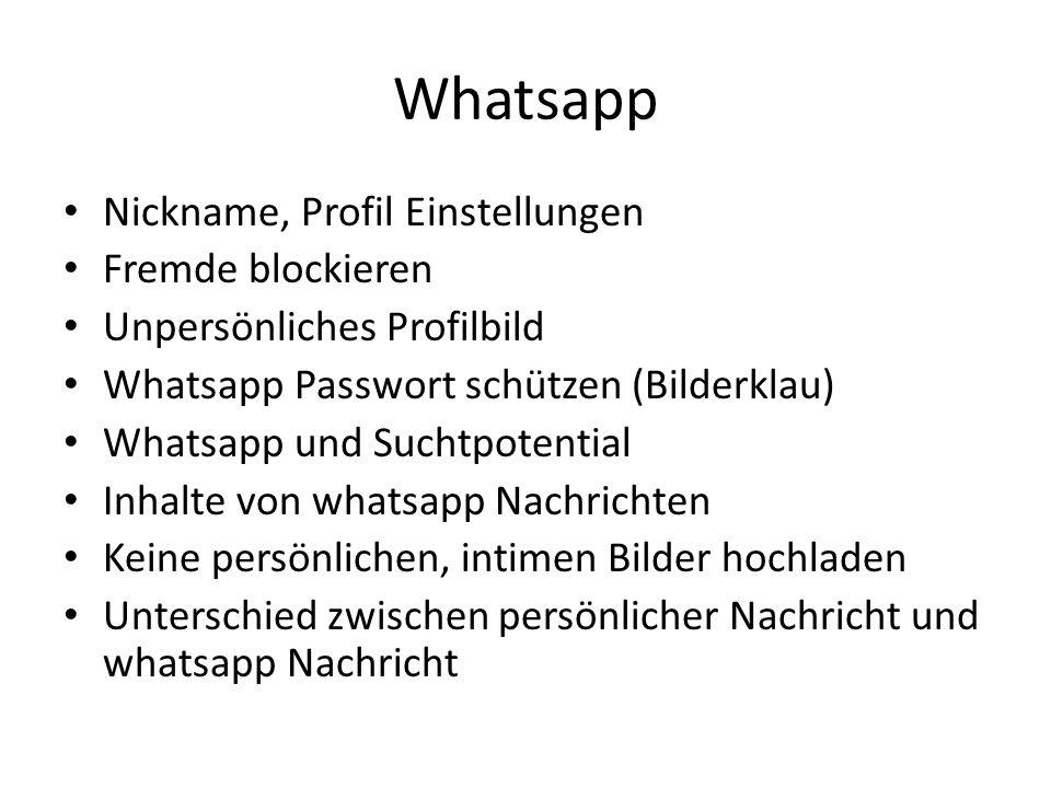 Whatsapp Nickname, Profil Einstellungen Fremde blockieren