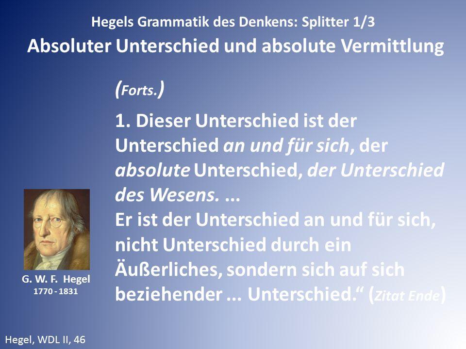 Hegels Grammatik des Denkens: Splitter 1/3 Absoluter Unterschied und absolute Vermittlung