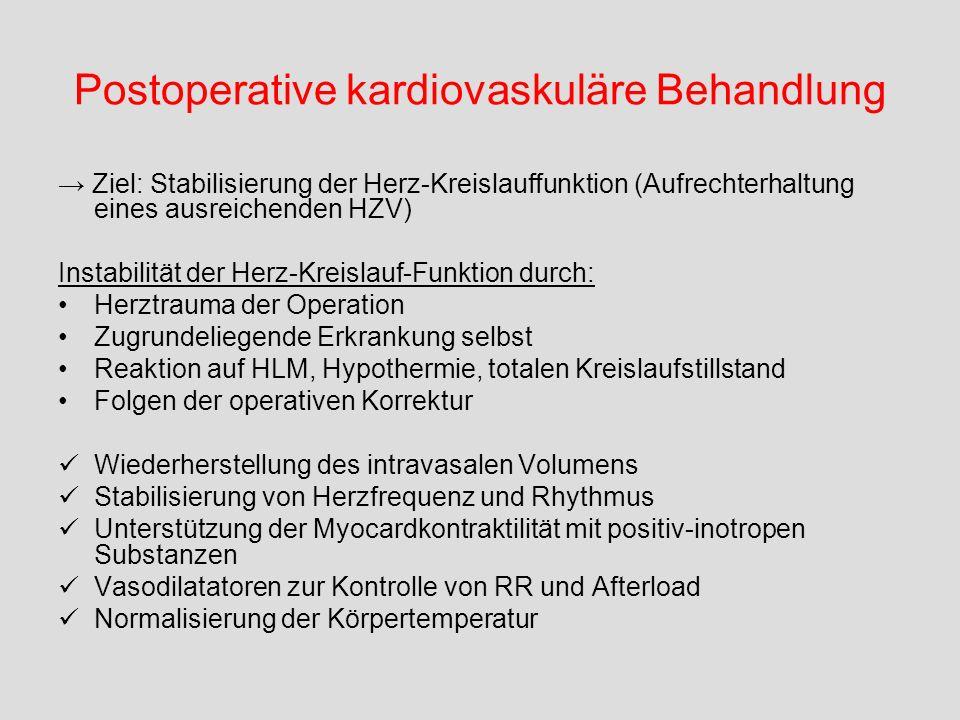 Postoperative kardiovaskuläre Behandlung