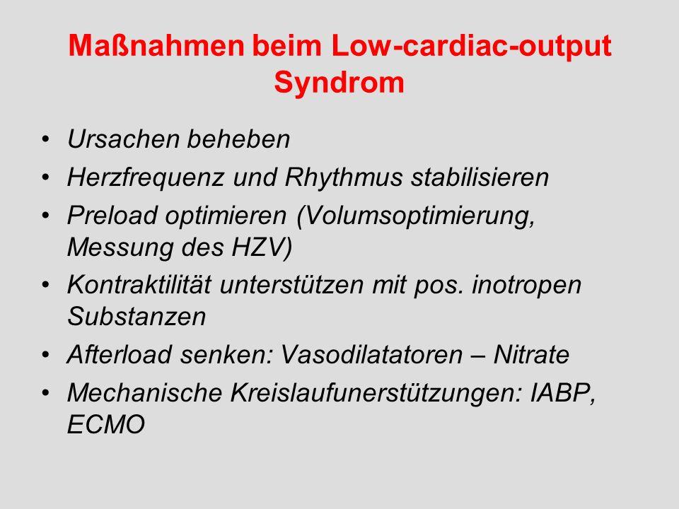Maßnahmen beim Low-cardiac-output Syndrom