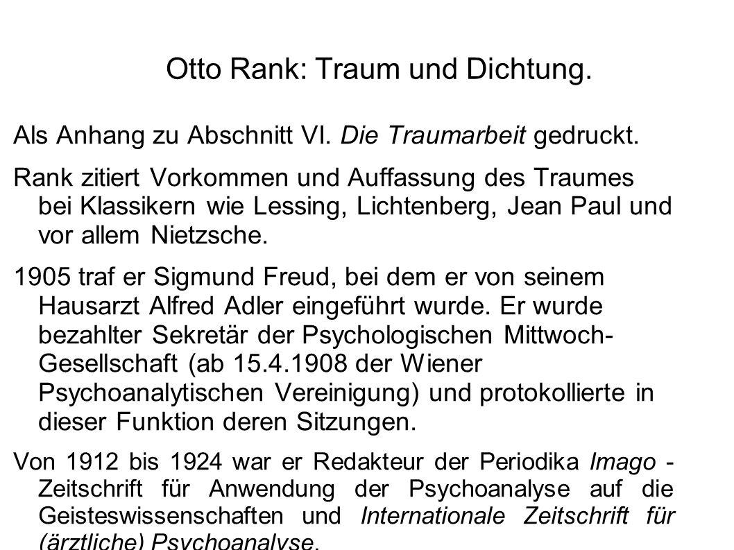 Otto Rank: Traum und Dichtung.