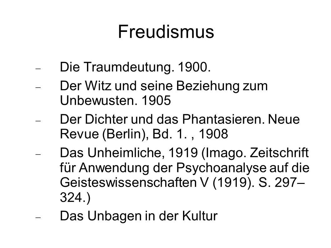 Freudismus Die Traumdeutung. 1900.