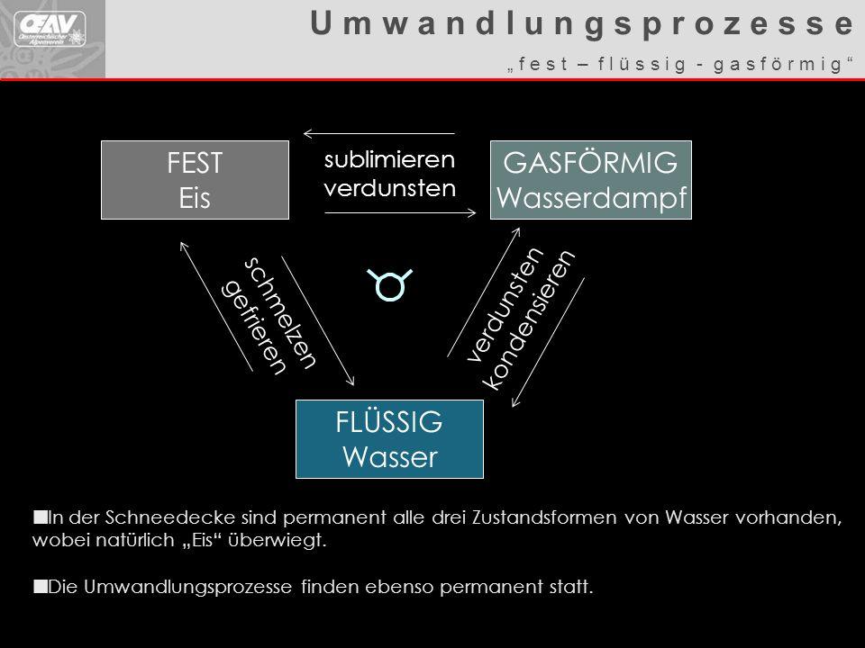 U m w a n d l u n g s p r o z e s s e FEST Eis GASFÖRMIG Wasserdampf