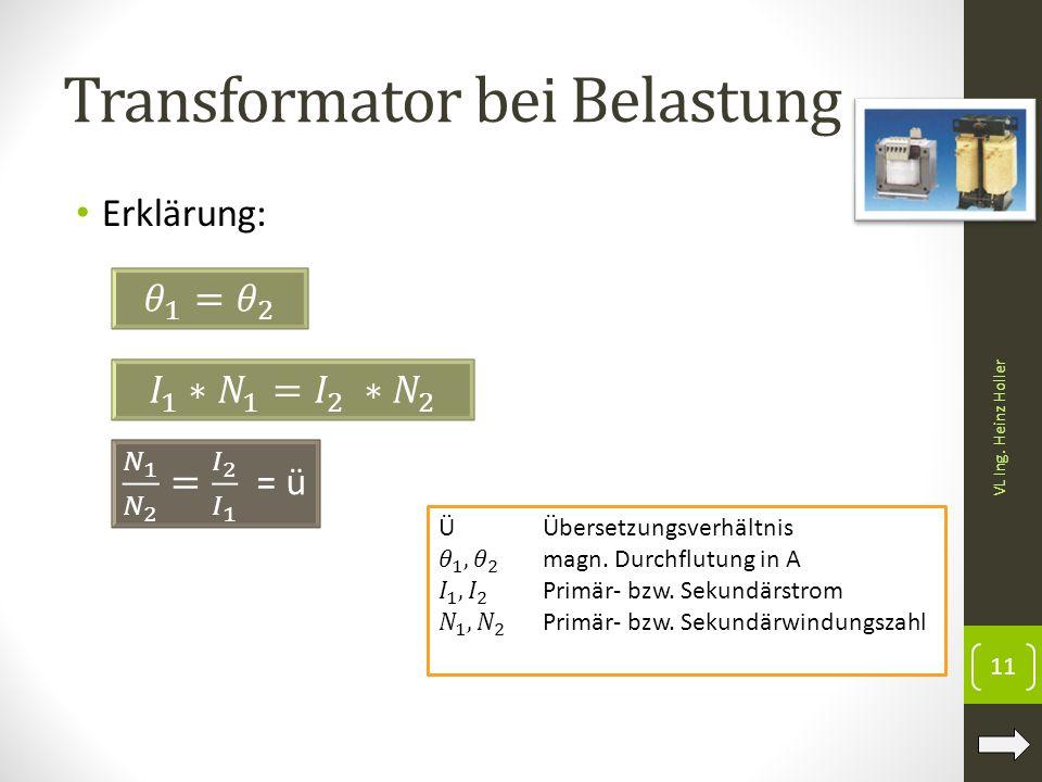 Transformator bei Belastung