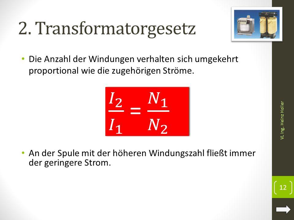 𝐼 2 𝐼 1 = 𝑁 1 𝑁 2 2. Transformatorgesetz