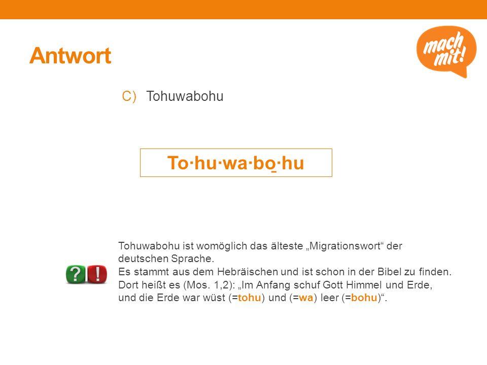 Antwort To·hu·wa·bo̱·hu Tohuwabohu