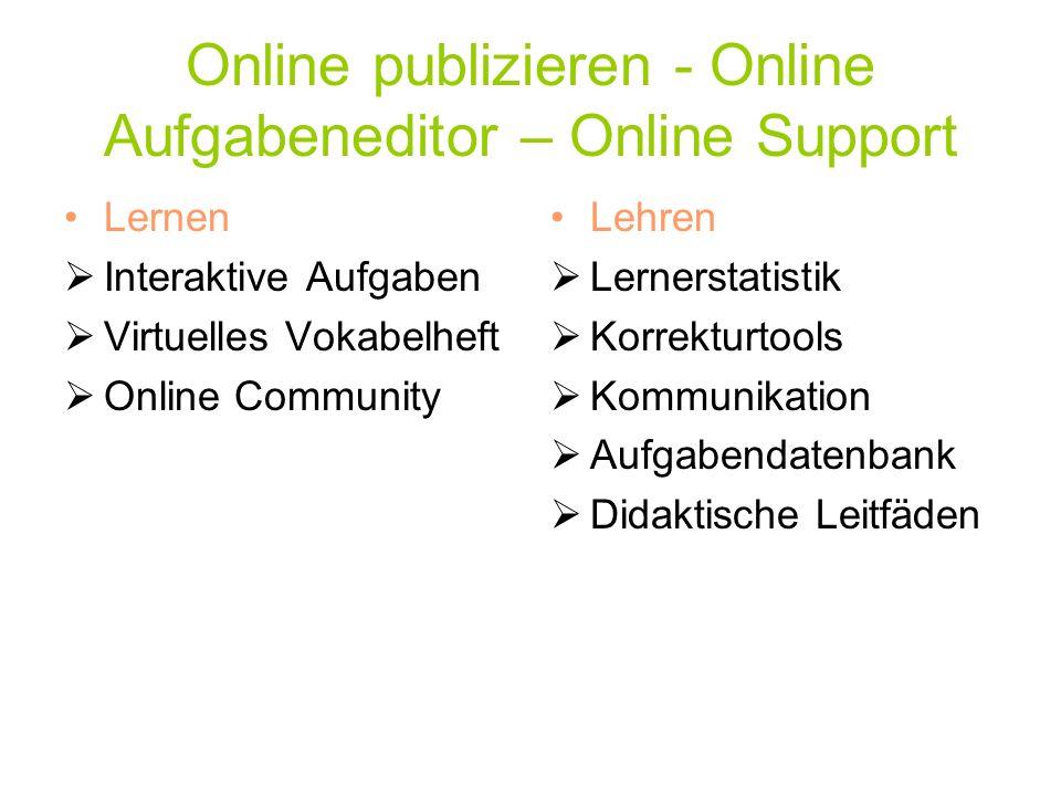 Online publizieren - Online Aufgabeneditor – Online Support