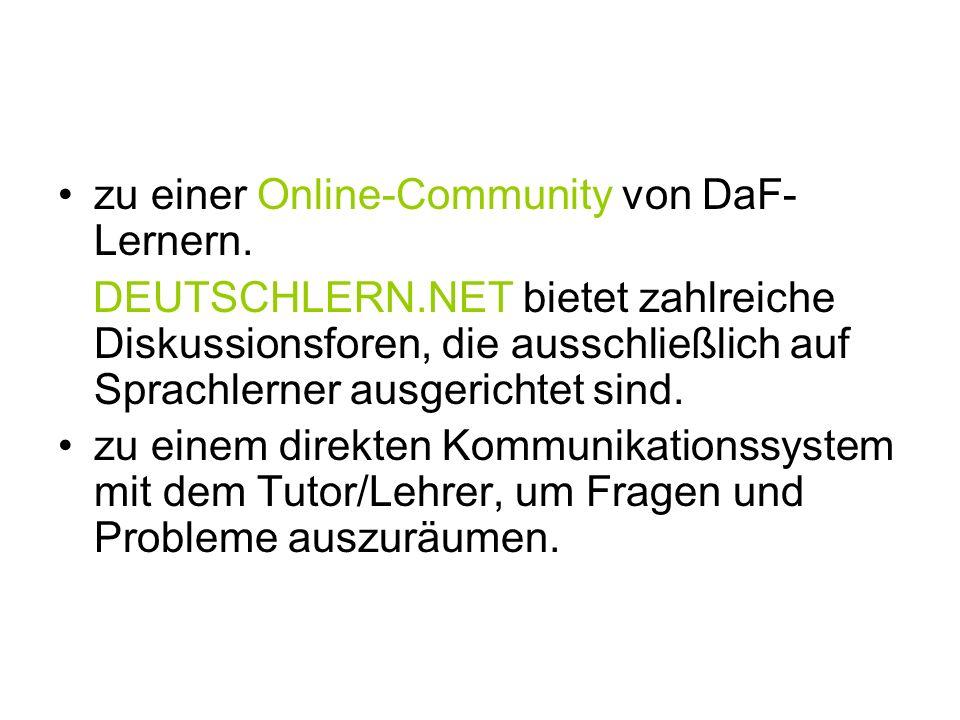 zu einer Online-Community von DaF-Lernern.