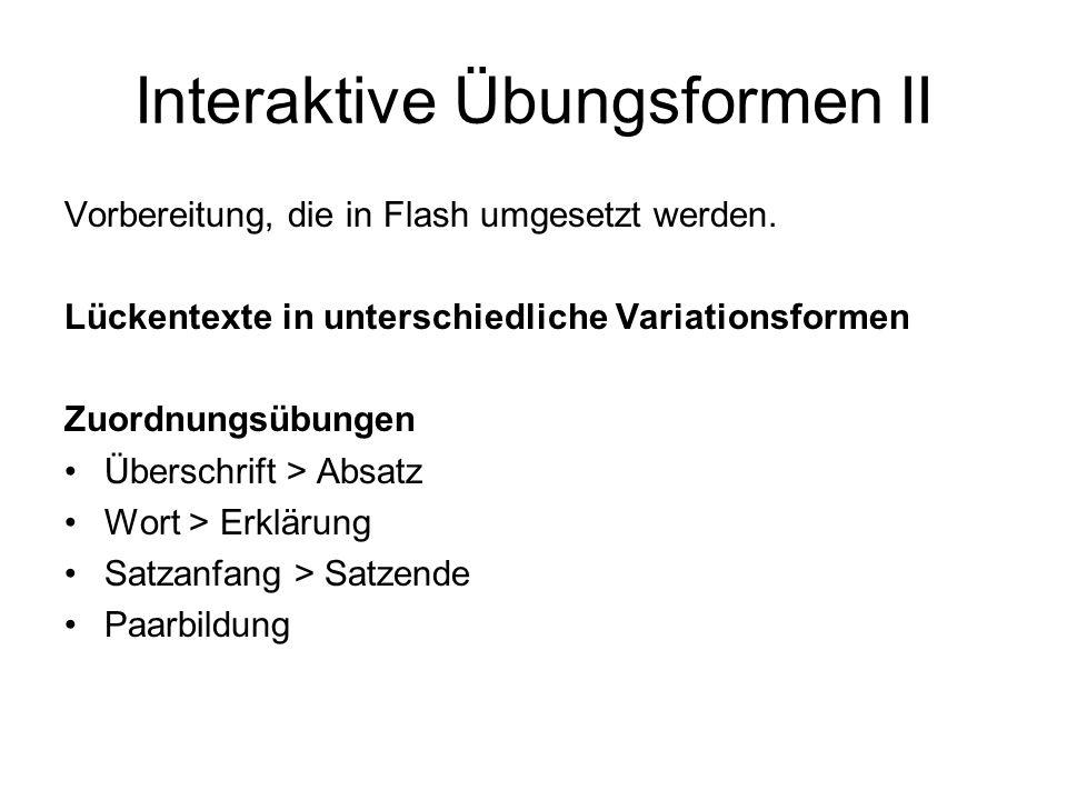 Interaktive Übungsformen II