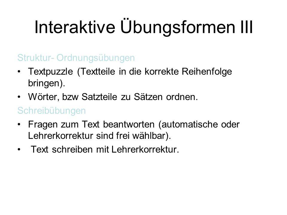 Interaktive Übungsformen III
