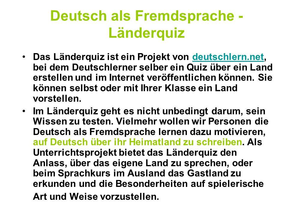 Deutsch als Fremdsprache -Länderquiz
