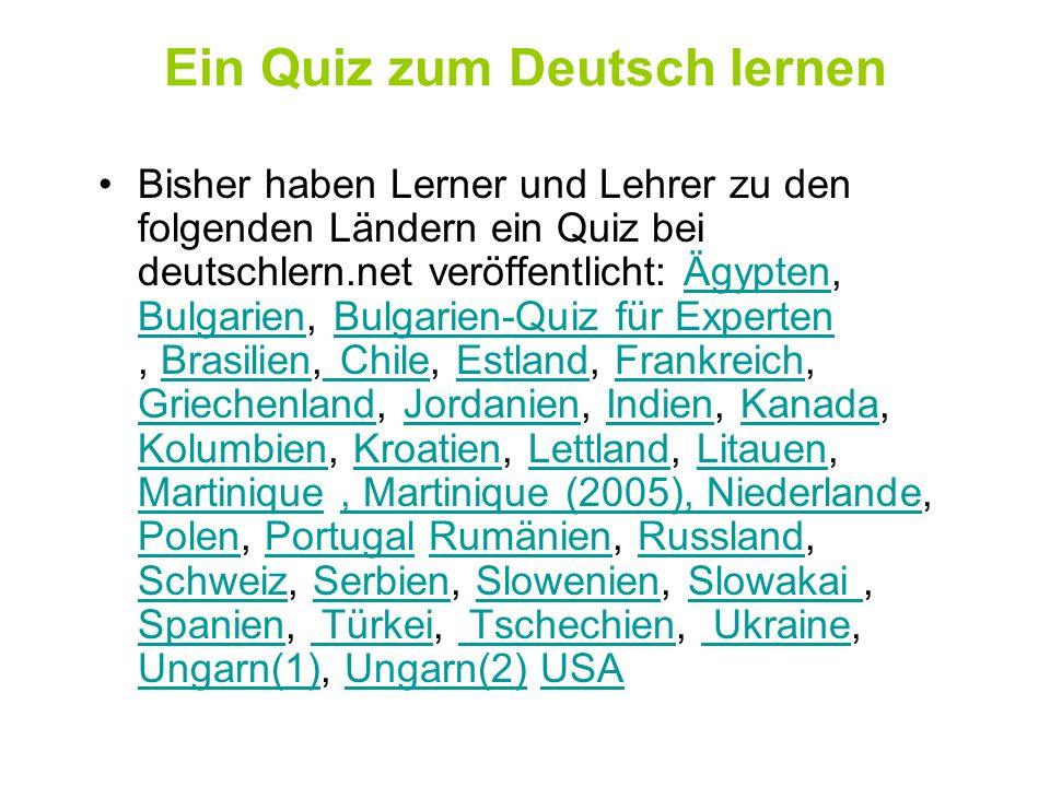 Ein Quiz zum Deutsch lernen