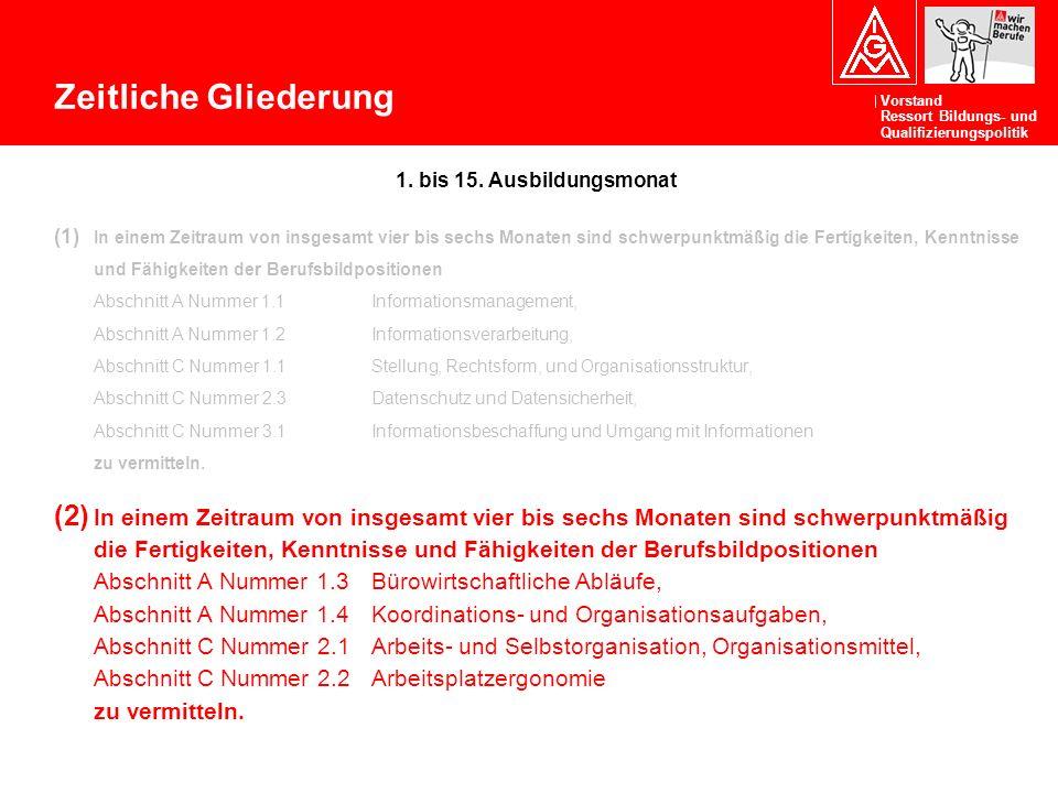 Zeitliche Gliederung 1. bis 15. Ausbildungsmonat.