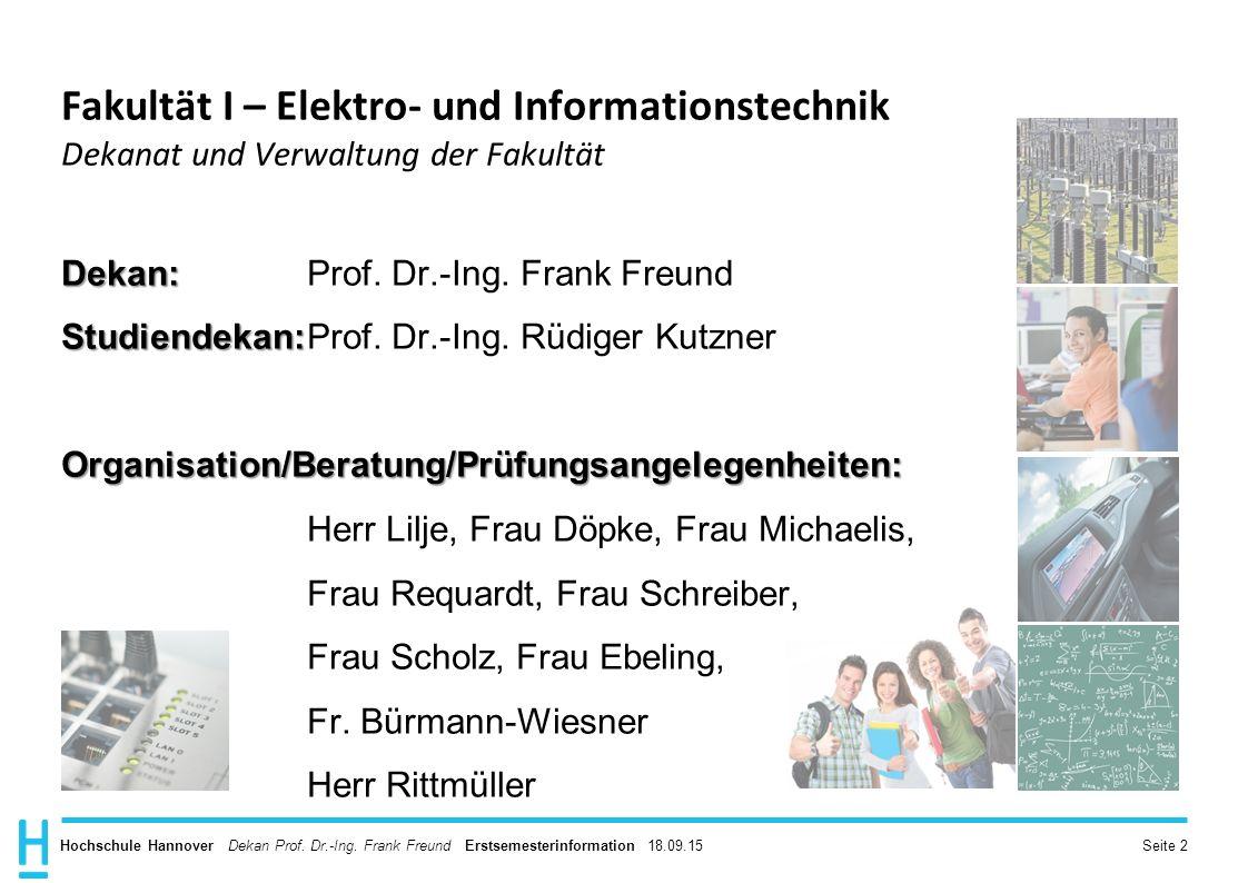 Fakultät I – Elektro- und Informationstechnik Dekanat und Verwaltung der Fakultät
