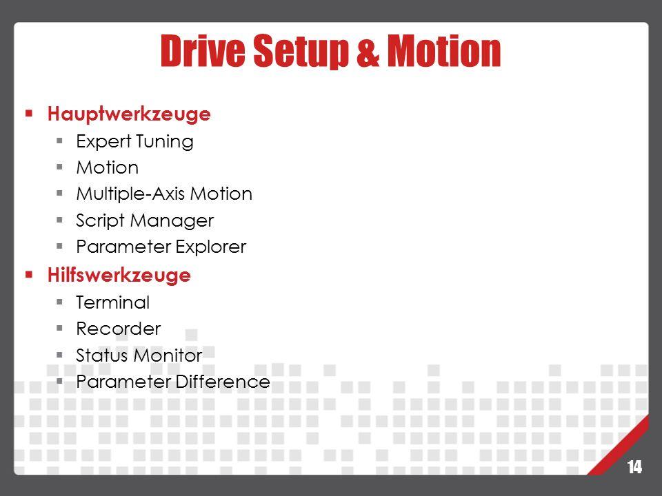 Drive Setup & Motion Hauptwerkzeuge Hilfswerkzeuge Expert Tuning