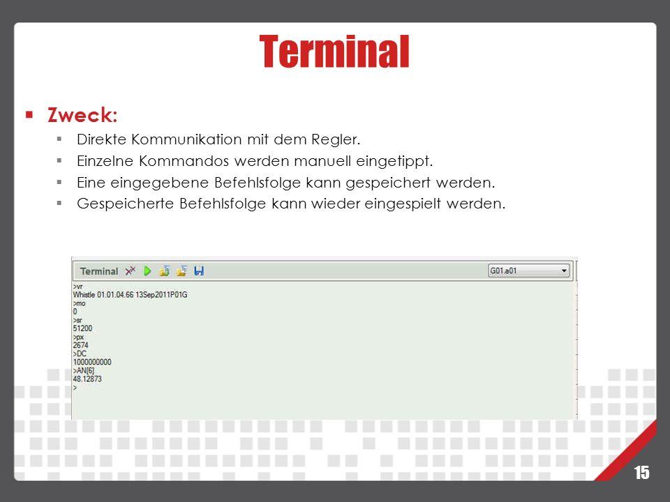 Terminal Zweck: Direkte Kommunikation mit dem Regler.