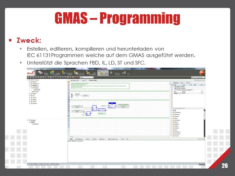 GMAS – Programming Zweck: