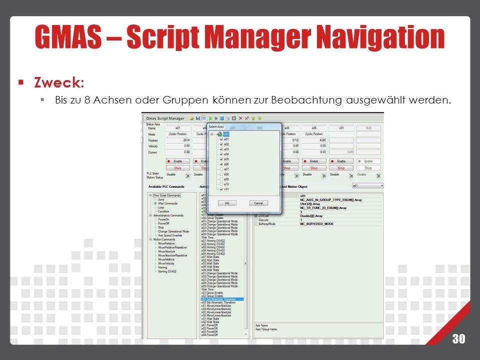 GMAS – Script Manager Navigation
