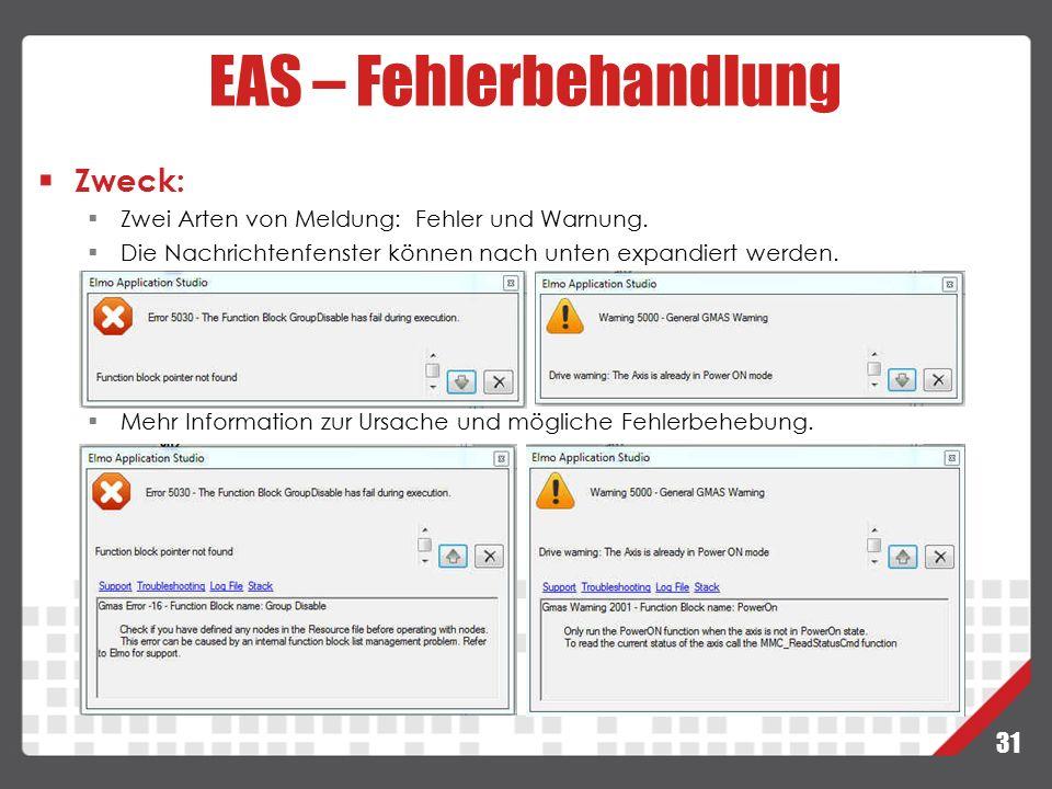 EAS – Fehlerbehandlung