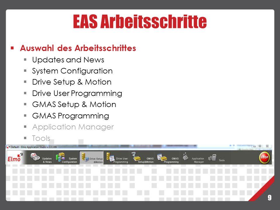 EAS Arbeitsschritte Auswahl des Arbeitsschrittes Updates and News