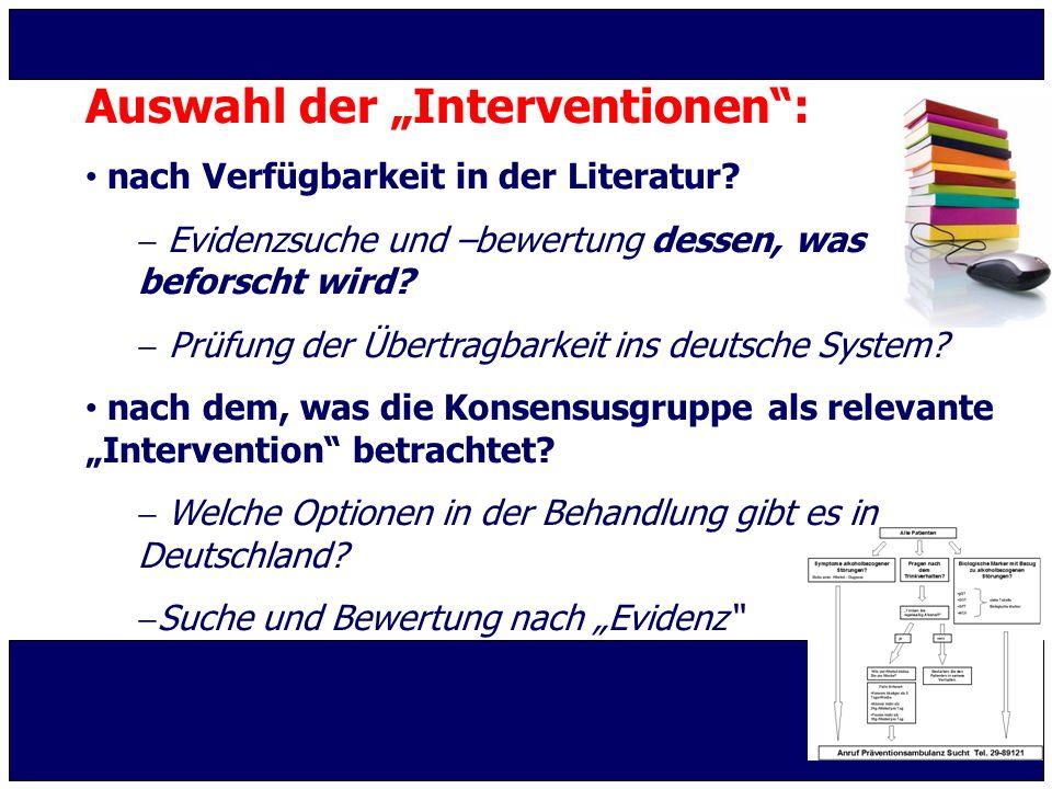 """Auswahl der """"Interventionen :"""