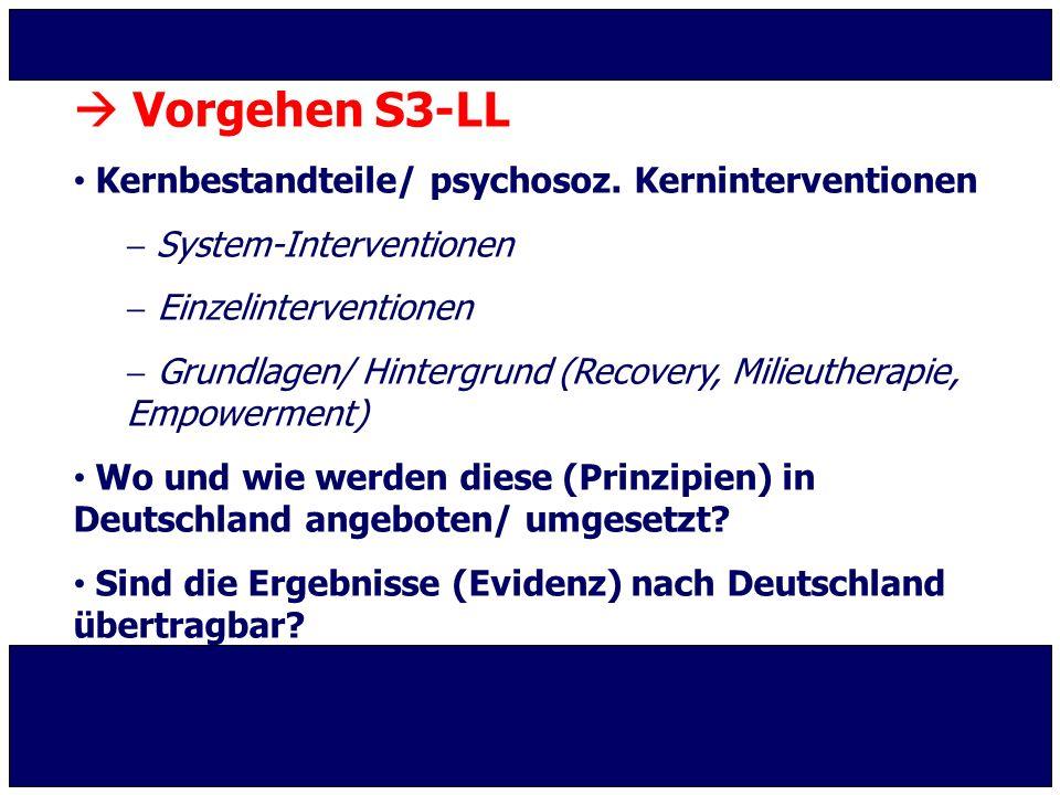  Vorgehen S3-LL Kernbestandteile/ psychosoz. Kerninterventionen