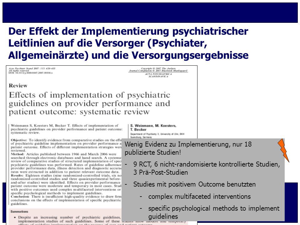 Der Effekt der Implementierung psychiatrischer
