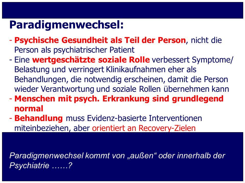 Paradigmenwechsel: Psychische Gesundheit als Teil der Person, nicht die Person als psychiatrischer Patient.