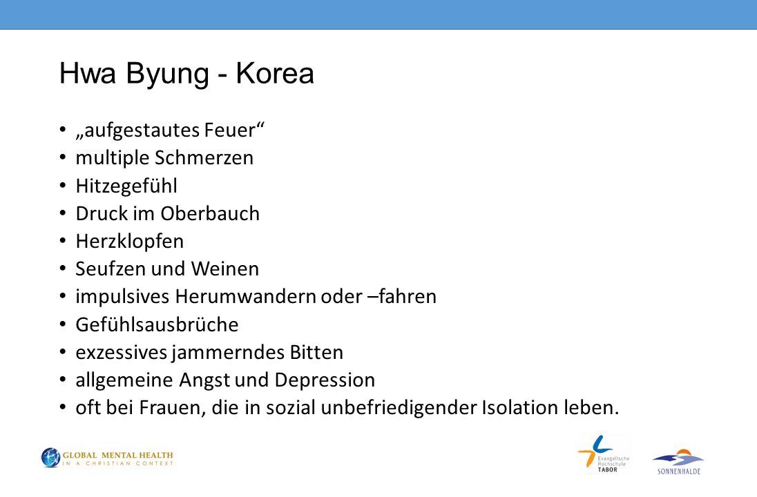 """Hwa Byung - Korea """"aufgestautes Feuer multiple Schmerzen Hitzegefühl"""