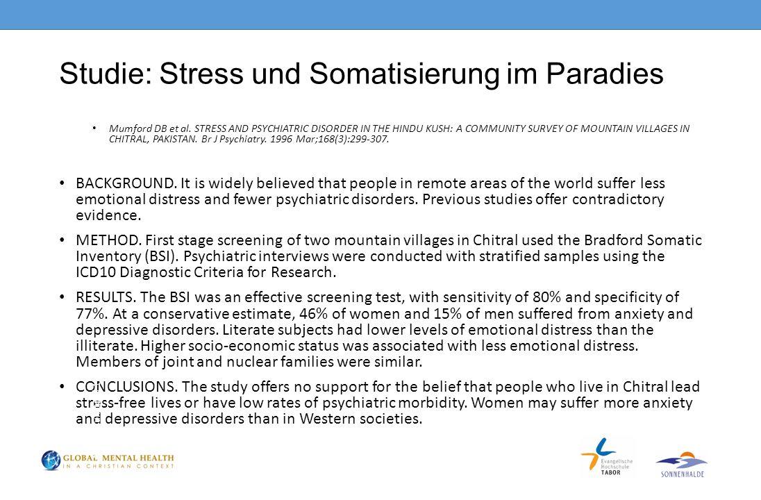 Studie: Stress und Somatisierung im Paradies