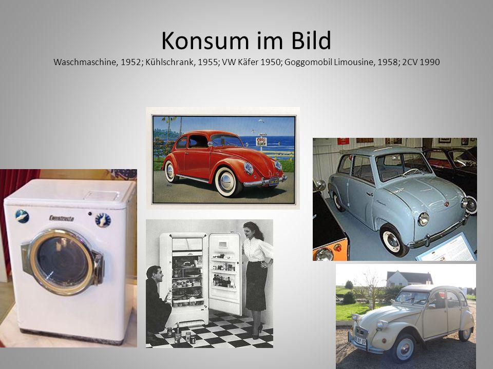 Konsum im Bild Waschmaschine, 1952; Kühlschrank, 1955; VW Käfer 1950; Goggomobil Limousine, 1958; 2CV 1990