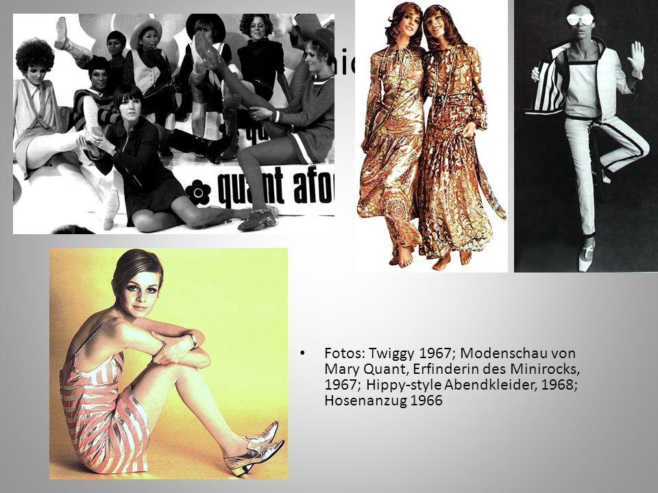 Fashion Fotos: Twiggy 1967; Modenschau von Mary Quant, Erfinderin des Minirocks, 1967; Hippy-style Abendkleider, 1968; Hosenanzug 1966.