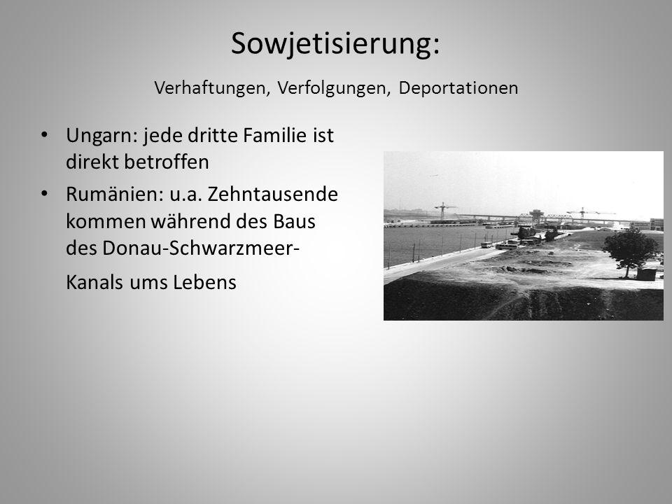 Sowjetisierung: Verhaftungen, Verfolgungen, Deportationen