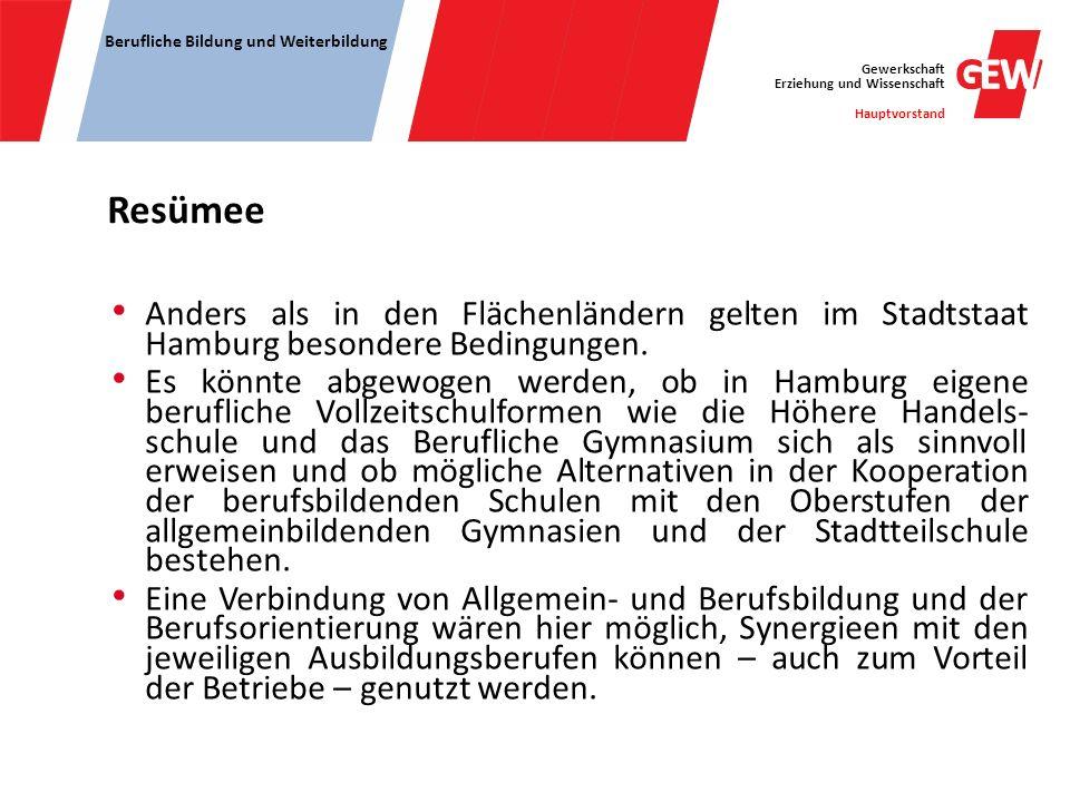 Resümee Anders als in den Flächenländern gelten im Stadtstaat Hamburg besondere Bedingungen.