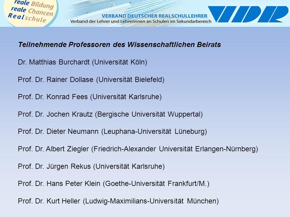 Teilnehmende Professoren des Wissenschaftlichen Beirats