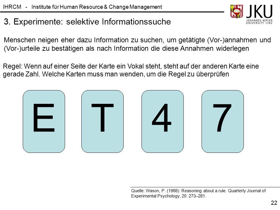 3. Experimente: selektive Informationssuche