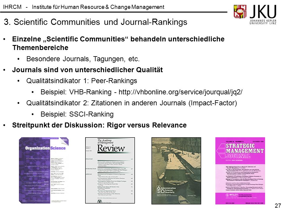 3. Scientific Communities und Journal-Rankings