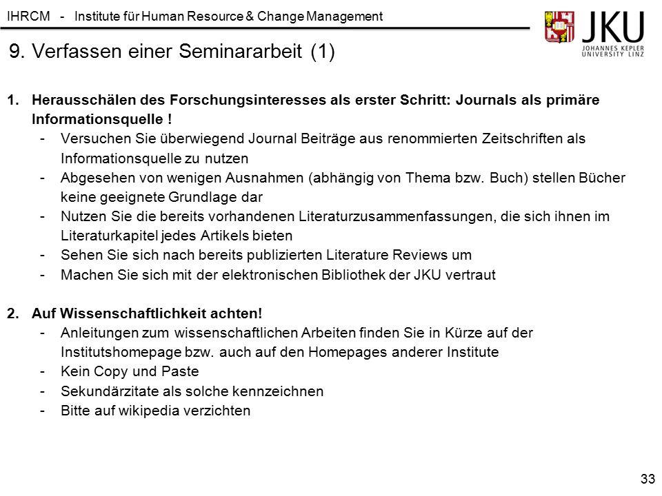 9. Verfassen einer Seminararbeit (1)