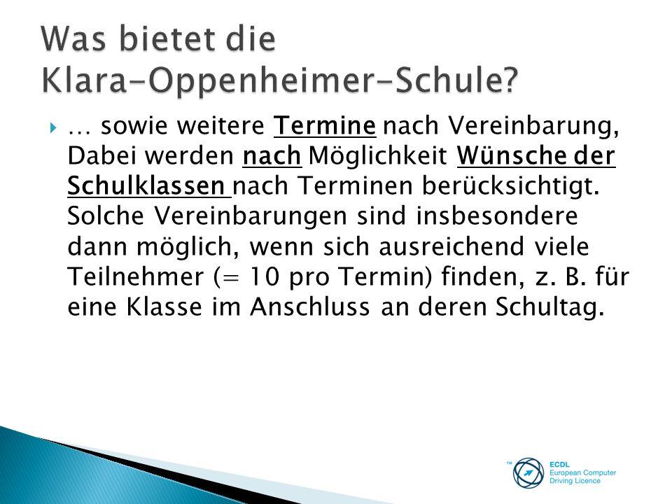 Was bietet die Klara-Oppenheimer-Schule
